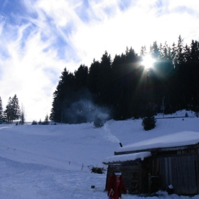 Kushtichki v snega se gushat, a kominchetata pushat...