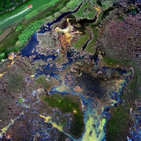 блатата край река Ропотамо.Снимка от самолет