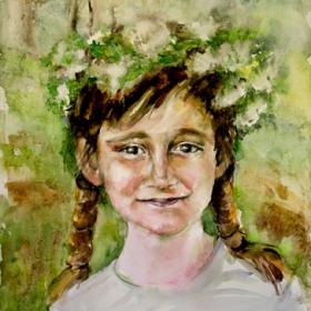 Пролетно момиче/акварел