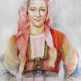 Портрет на млада армънка от Западни Родопи/акварел