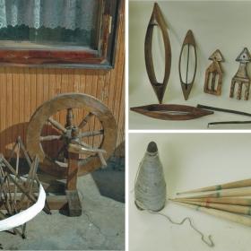 Оръдия на труда от едно време: хурка, чекрък. вретена, прежда, масур, совалки...