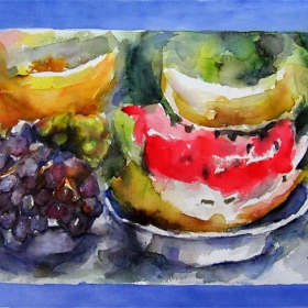 натюрморт с плодове/акварел/мотиви на творба от руски автор
