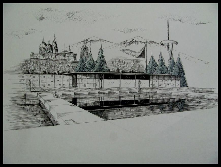 Перспективна рисунка на павилиона на Мис ван дер Рое в Барселона