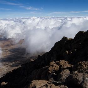 Поглед   към  х. КИБО виждаща се в далечината..., от  Gilman*s Point  5681m Mt. KILIMANJARO - AFRIKA.........