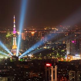 Guangzhou- Fushan, the TV tower light show