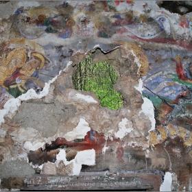 Стенописи от черквата - преди реставрацията на манастира Св. Иван Пусти