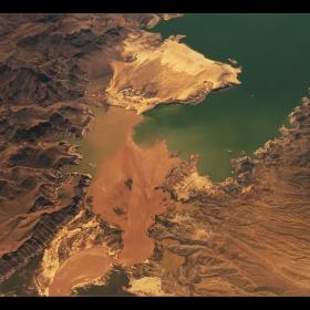 Някъде над границата на Невада и Аризона. Височина - 10,000 метра. п.с. Относно бялата драскотинка във водата , кораб е:)
