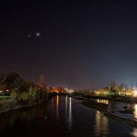 Венера и Юпитер в дует над Пазарджик