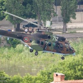 AS-532AL ниско над коритото на р. Марица в Пловдив