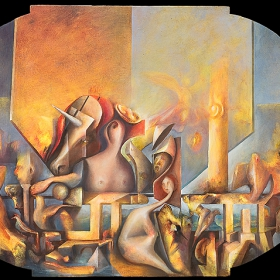 Pulsioni arcaiche, 2011, olio su tavola , 126 x 186 cm