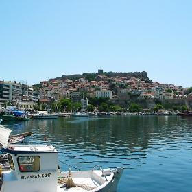 гр.Кавала-част от пристанището,стария град и крепостната стена