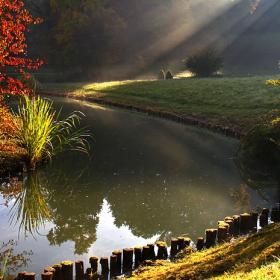 Мъгливо есенно утро, замъкът Schonau