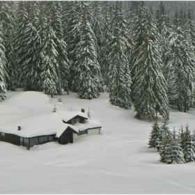 Къщичка в снега се гуши, но коминчето не пуши!;)