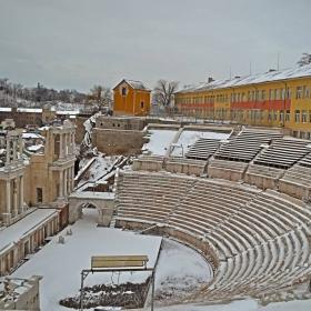 Малко сняг на Античния театър