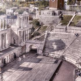 Панорама на Античен театър гр.Пловдив