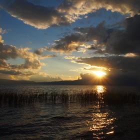 Охридското езеро, залез