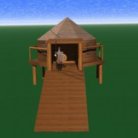 Плиска, Реконструкция на дървена постройка