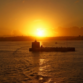 Sydney Harbour entrance Lighthouse at sunrise