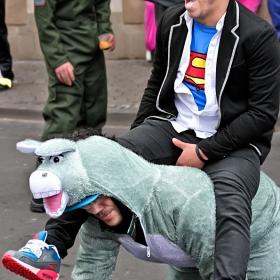 Скици от карнавала в Bad Kreuznach, 2015...  Емоцията да яхнеш магаре :)