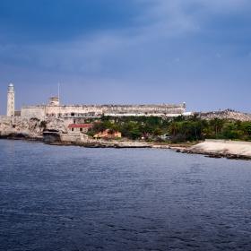 Morro Castle Lighthouse at sunset blue