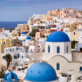 Santorini's blue domed churches...