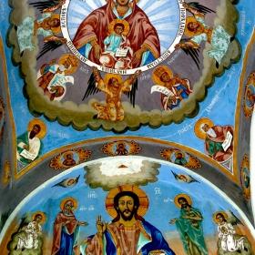 Стенопис в черквата на Соколски манастир