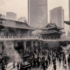Burning Sandalwood Incense Sticks. Jade Buddha Temple. Shanghai