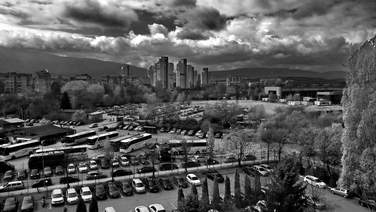 Urban environment in black and white