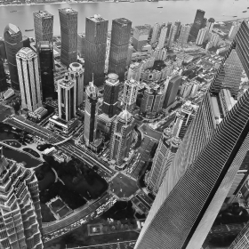 1,800ft Under. LuJiaZui, JinMao, WFC Tower. View from Shanghai Tower