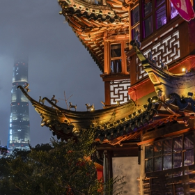 Shanghai Tower, JinMao Tower, Huxinting Teahouse. View from YuYuan Garden