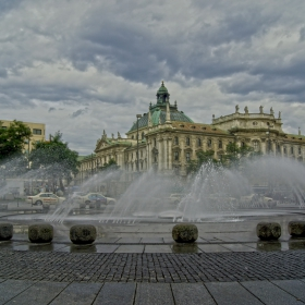 Munich - Water fountain in front of the Justizpalast