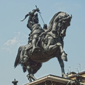 Turin, The statue of Emanuele Filiberto, Piazza San Carlo, Sculptor Carlo Marochetti 1805-1867